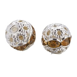Lt.Col.Topaz Brass Rhinestone Beads, Grade A, Silver Metal Color, Round, Lt.Col.Topaz, 8mm, Hole: 1mm; 20pcs/box