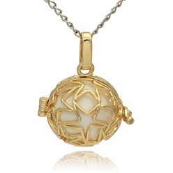 White Golden Tone Brass Hollow Round Cage Mexican Ball Pendants, with No Hole Spray Painted Brass Ball Beads, White, 23x24x18mm, Hole: 3x8mm