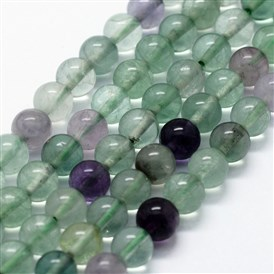 Natural Fluorite Beads Strands, Round