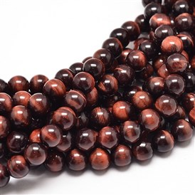 Natural Red Tiger Eye Bead Strands, Dyed & Heated, Grade A, Round
