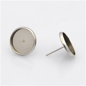 304 Stainless Steel Flat Round Stud Earring Settings