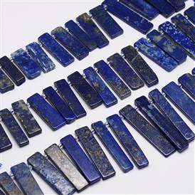 Natural Lapis Lazuli Bead Strands, Rectangle, 22~44x7~10x2~5mm, Hole: 1mm; about 36pcs/strand, 16""