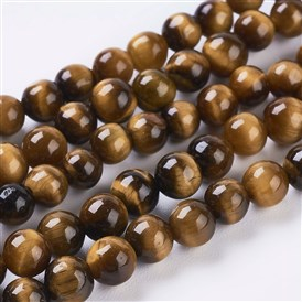 Natural Tiger Eye Beads Strands, Dyed, Round