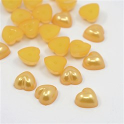Orange Acrylic Imitation Pearl Cabochons, Dyed, Heart, Orange, 10.5x10.5x5mm; about 1500pcs/bag