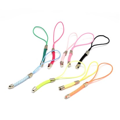 Nylon Cord Mobile Straps, with Iron Findings, 85x4mm, Hole: 1.5mm