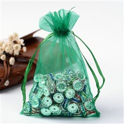 Green Organza Gift Bags with Drawstring, Jewelry Pouches, Wedding Party Christmas Favor Gift Bags, Green, Size: about 8cm wide, 10cm long
