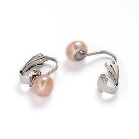 304 Stainless Steel Freshwater Pearl Clip-on Earrings, 16x4x15mm
