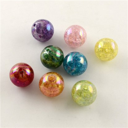 AB Color Transparent Crackle Round Acrylic Beads