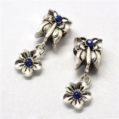 Alloy Rhinestone European Dangle Beads, Large Hole Beads, Butterfly and Flower, Antique Silver-1