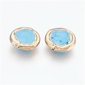 Synthetic Turquoise Beads, Brass Edge Real 18K Gold Plated, Flat Round