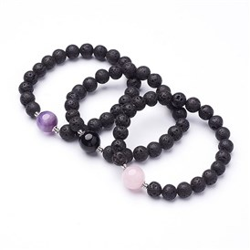 Natural Lava Beaded Stretch Bracelets, with Other Mixed Gemstone Beads