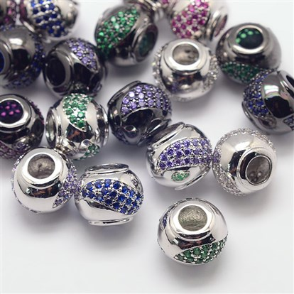 Brass Micro Pave Cubic Zirconia European Beads, Cadmium Free & Nickel Free & Lead Free, Large Hole Rondelle Beads, 12x10mm, Hole: 4mm-1
