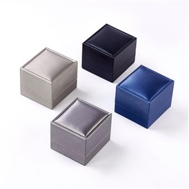 Plastic Jewelry Boxes, Covered with Imitation Leather, Rectangle
