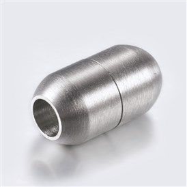 304 Stainless Steel Magnetic Clasps, Frosted, Barrel