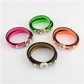 Imitation Leather Triple Wrap Snap Bracelet Makings, with Brass Snap Buttons, Platinum, 570x10mm; Half Hole: 4x6mm