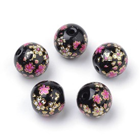 Printed Glass Beads, Round with Flower Pattern