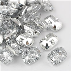 White Taiwan Acrylic Rhinestone Buttons, Faceted, 1-Hole, Rectangle, White, 30x21x10.5mm, Hole: 2mm