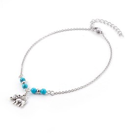 Synthetic Turquoise Charms Anklets, with Tibetan Style Alloy Pendants, 304 Stainless Steel Findings and Iron Eye Pin, Elephant