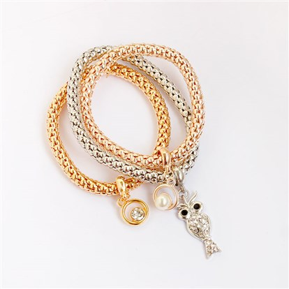Alloy Stretch Charm Bracelets, Popcorn Chain, with Rhinestone and Imitation Pearl, Ring and Owl-1