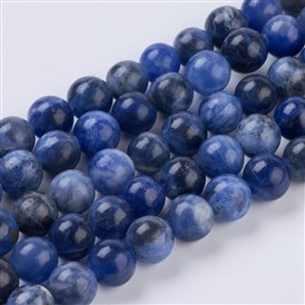 Natural Sodalite Beads Strands, Round, MidnightBlue