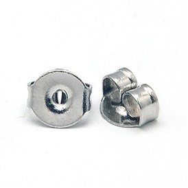 304 Stainless Steel Ear Nuts, Earring Backs, 5x4x2.5mm, Hole: 1mm