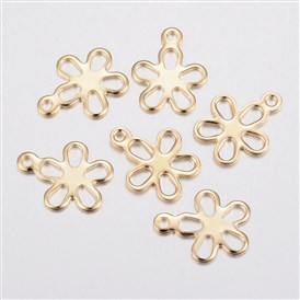 304 Stainless Steel Charms, Flower