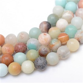 Round Natural Amazonite Bead Strands