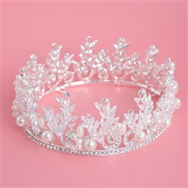 Fashionable Wedding Crown, Alloy Hair Bands, Bridal Tiaras, with Rhinestone and ABS Imitation Pearl, Ivory, Silver