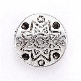 Tibetan Style Alloy Bead Rhinestone Settings, Cadmium Free & Lead Free, Flat Round with Flower