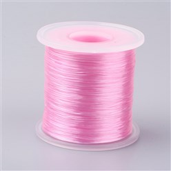 PearlPink Japanese Flat Elastic Crystal String, Elastic Beading Thread, for Stretch Bracelet Making, PearlPink, 0.5mm; about 300m/roll