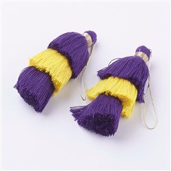 Colorful Nylon Tassels Big Pendant Decorations, Three Layers, Colorful, 70x40mm