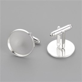 Brass Cuff Settings, Cufflink Finding Cabochon Settings for Apparel Accessories