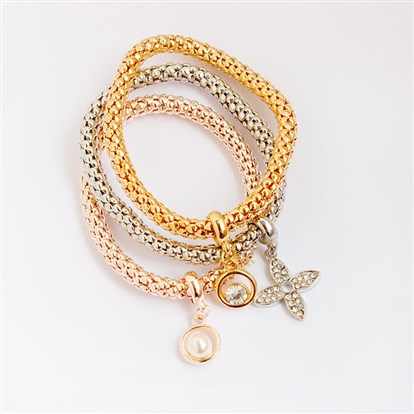 Alloy Stretch Charm Bracelets, Popcorn Chain, with Rhinestone and Imitation Pearl, Flower & Ring-1