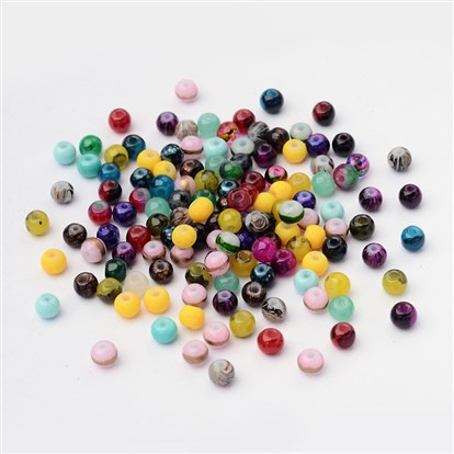 Round Spray Painted Glass Beads-1