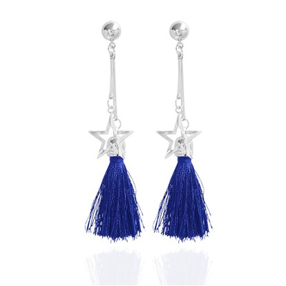 Alloy Dangle Stud Earrings, with Star and Tassel, Platinum-1