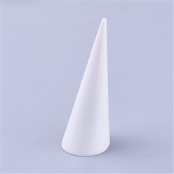 White Acrylic Organic Glass Ring Displays, Cone, White, 25.5x69mm