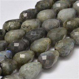 Faceted Drop Natural Labradorite Bead Strands, 19x12~13mm, Hole: 1mm; about 21pcs/strand, 15.5