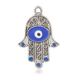 Antique Silver Alloy Enamel Pendants, with Rhinestones, Hamsa Hand/Hand of Fatima/Hand of Miriam, with Eye, Antique Silver, 36x24x1.5mm, Hole: 2.5mm