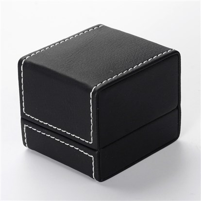 Rectangle Imitation Leather Ring Boxes, 6.8x6x5.8mm