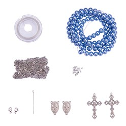 Cornflower Blue DIY Jewelry Material Packages, Including Tibetan Style Alloy Pendants, Glass Pearl Beads, Stainless Steel Findings, Chain and Tiger Tail, Cornflower Blue, 8x1mm