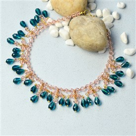 DIY Necklace Kits, Simple Glass Bead and Chain Collar Necklace