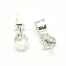 Sterling Silver Pendant Bails, for Half Drilled Beads, 6.5x3.5mm, Hole: 3mm, Pin: 0.4mm