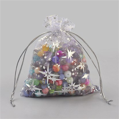Organza Gift Bags, Rectangle with Star Pattern