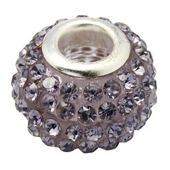 Tanzanite Grade A Rhinestone European Beads, Large Hole Beads, Resin, with Silver Color Brass Core, Rondelle, Tanzanite, 12x8mm, Hole: 4mm