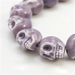 MediumPurple Handmade Porcelain Beads Strands, Bright Glazed Style, Skull, Halloween, MediumPurple, about 15mm wide, 18mm long, 18mm thick, Hole: 1.5mm