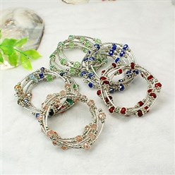 Mixed Color Fashion Wrap Bracelets, with Rondelle Glass Beads, Tibetan Style Bead Caps, Brass Tube Beads and Steel Memory Wire, Mixed Color, Inner Diameter: 55mm