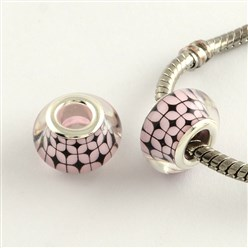 Pink Large Hole Grid Pattern Acrylic European Beads, with Platinum Tone Brass Double Cores, Rondelle, Pink, 14x9mm, Hole: 5mm