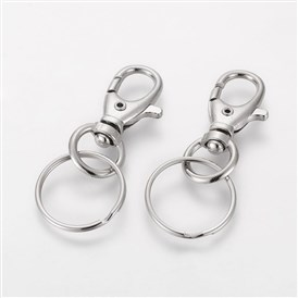 Iron Swivel Clasps with Key Rings, 25x60mm