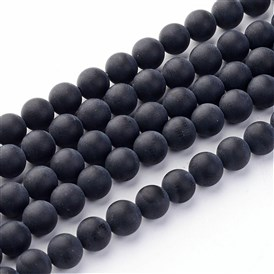 Grade A Round Frosted Natural Black Agate Gemstone Beads Strands