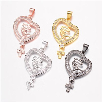 Brass Micro Pave Cubic Zirconia Pendants, Hollow Heart and Cross-1